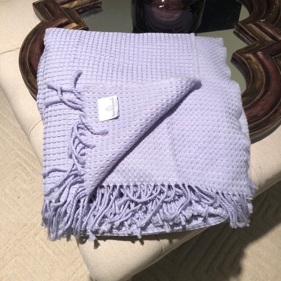 Yves Delorme waffle pattern merino wool throw